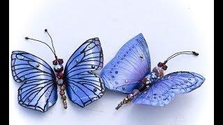 делаем бабочек из пластиковых бутылок. We make butterflies from plastic bottles