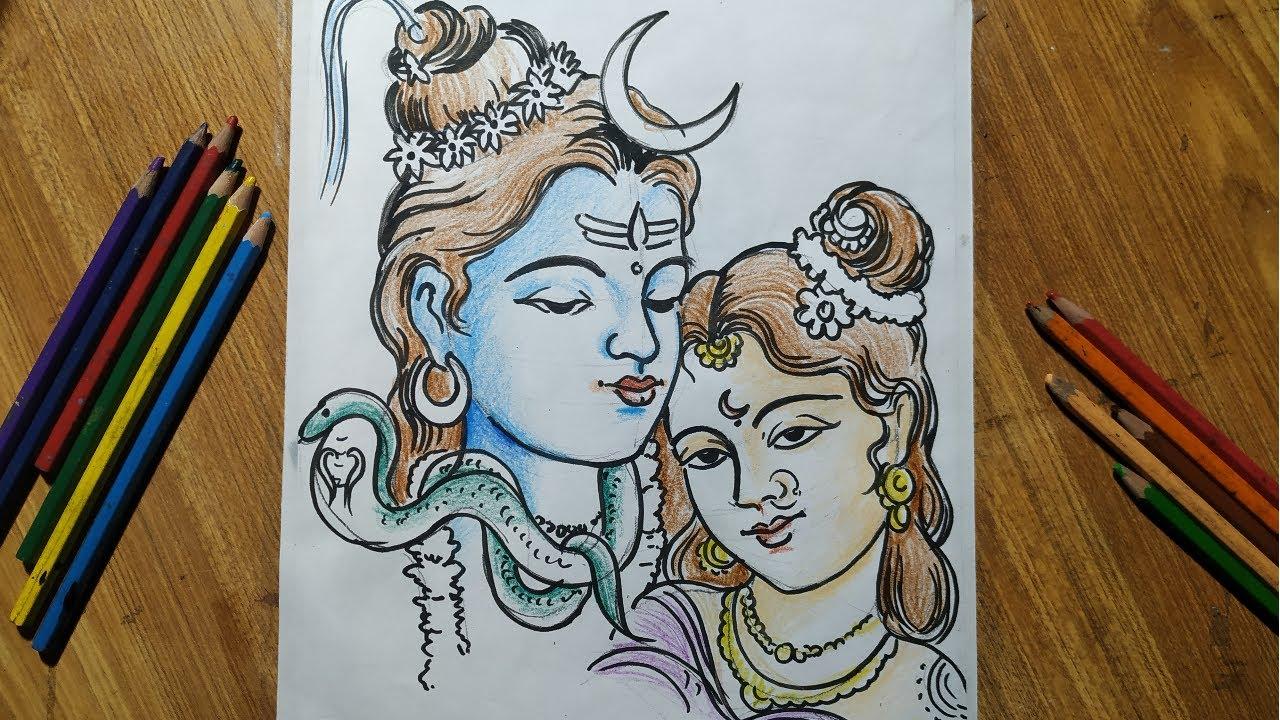 How To Draw Lord Shiva And Mata Parvati For Maha Shivaratrispecial