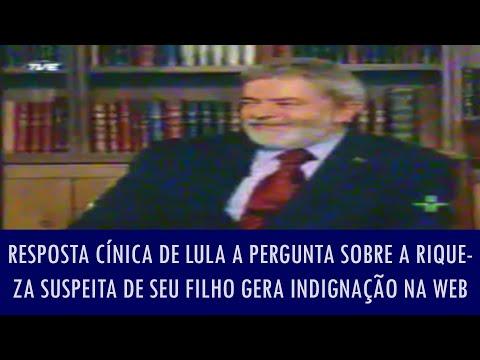 Resposta cínica de Lula a pergunta sobre a riqueza suspeita de seu filho gera indignação na web: CLICANDO EM GOSTEI, VOCÊ AJUDA A DIVULGAR. INSCREVA-SE PARA FAZER PARTE DO CANAL: http://www.youtube.com/user/fichasocial?sub_confirmation=1 Curta no Facebook: https://www.facebook.com/canalfichasocial  Ficha técnica:  Direção de jornalismo: Barbosa Neto Assistente de jornalismo: Fernandes Cortéz Roteiro: Fernandes Araújo Direção, edição e câmera: Caveirinha Iluminação: Marco Aurélio Tufão Operador de teleprompter: Carlos Eduardo Lima Câmera auxiliar: Renata Albuquerque Pauta: José Oliveira Produção: BDE - Brasil Digital Informação e Entretenimento Canal: Ficha Social