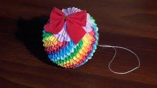 Модульное оригами Елочная игрушка радужный шар (мастер класс)