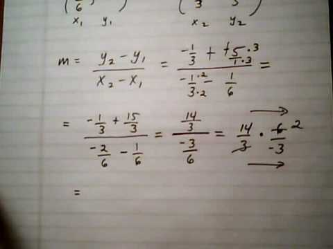 point slope form with fractions  find slope of line given two points with fractions