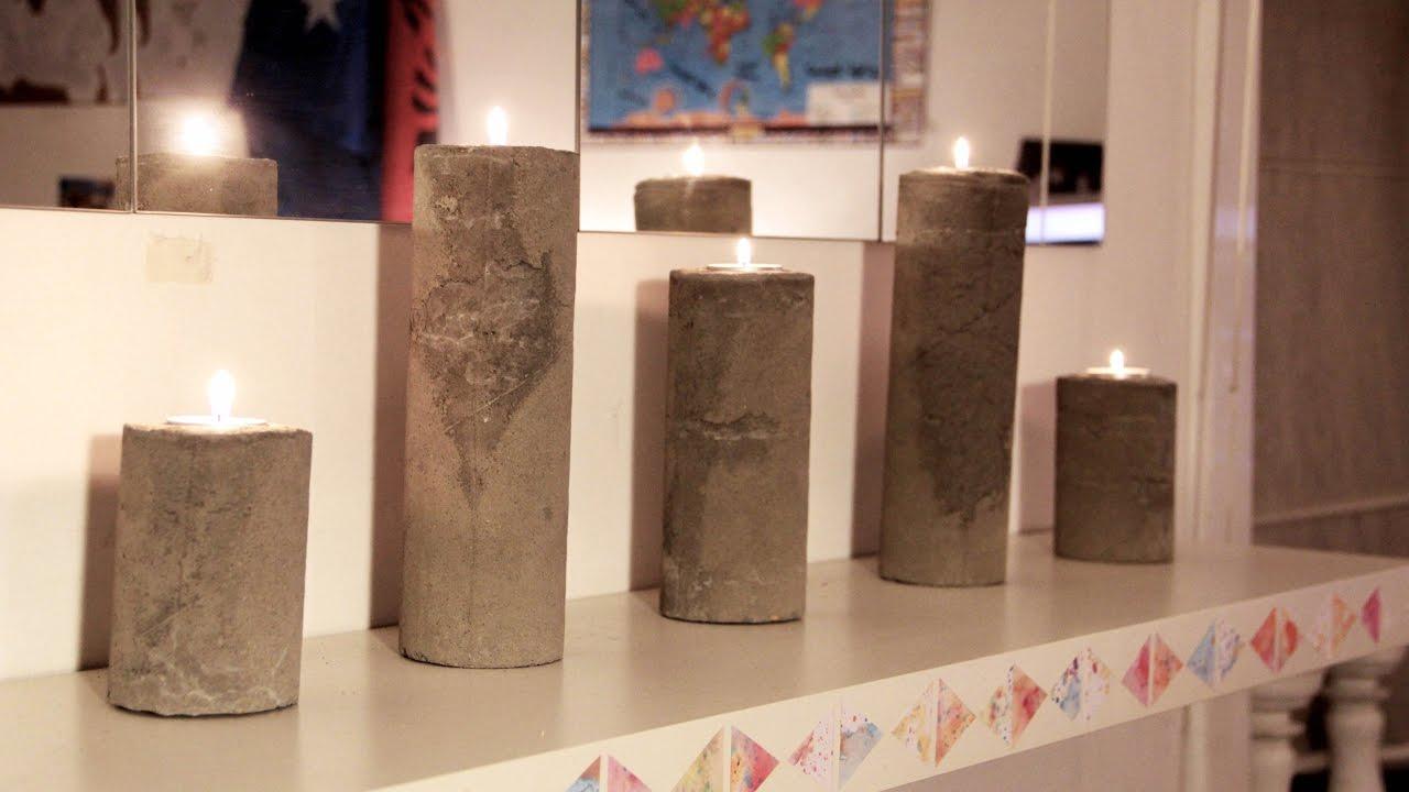 diy bougeoirs en beton ciment cylindriques youtube. Black Bedroom Furniture Sets. Home Design Ideas