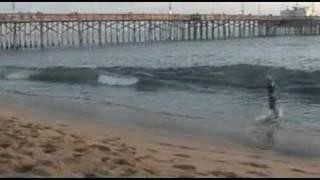 Skimboarding at Balboa Pier, northside, 11-17-07