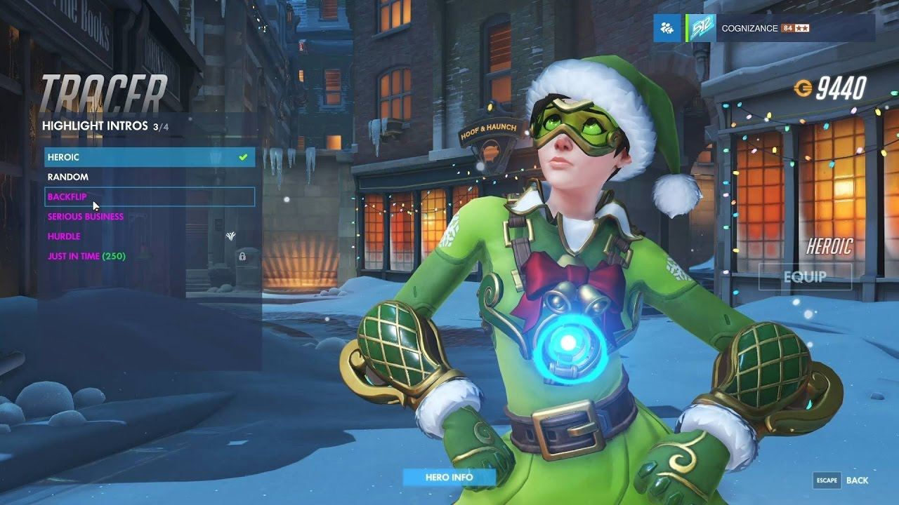 Tracer Christmas Skin.Tracer Jingle Overwatch Legendary Winter Skin Spotlight All Intros Emotes Poses