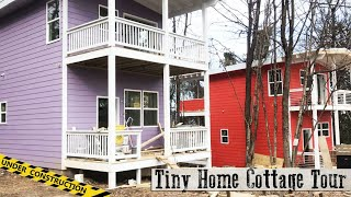 2 Story Tiny House Cottage Community Tour - Under Construction Tiny Homes