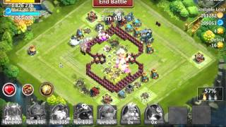 Castle Clash typical raid with Pumpkin Duke 7/9 and Ares Frenzy 5