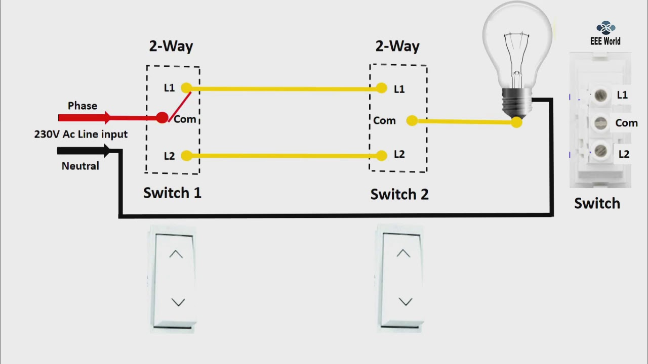 how to 2 Way Light Switch diagram in engilsh |2 Way Light Switch Wiring Hallway Light Switches Wiring Diagram on