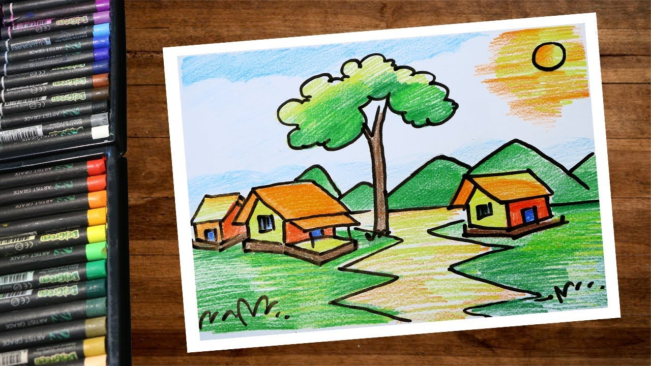 How To Draw Village Scenery Drawing Using Color Pencil Step By Step