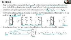 Riippuvuusanalyysi - usean muuttujan regressioanalyysi - teoria