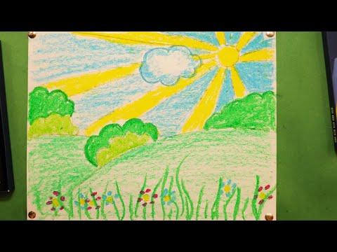 """Урок рисования для детей """"ВЕСЕННИЙ ПЕЙЗАЖ🌅"""""""