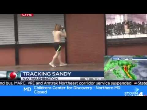Horse head runner storms Washington DC during Hurricane Sandy