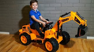 Tema Unboxing Power Wheels Tractor Excavator and play with toys