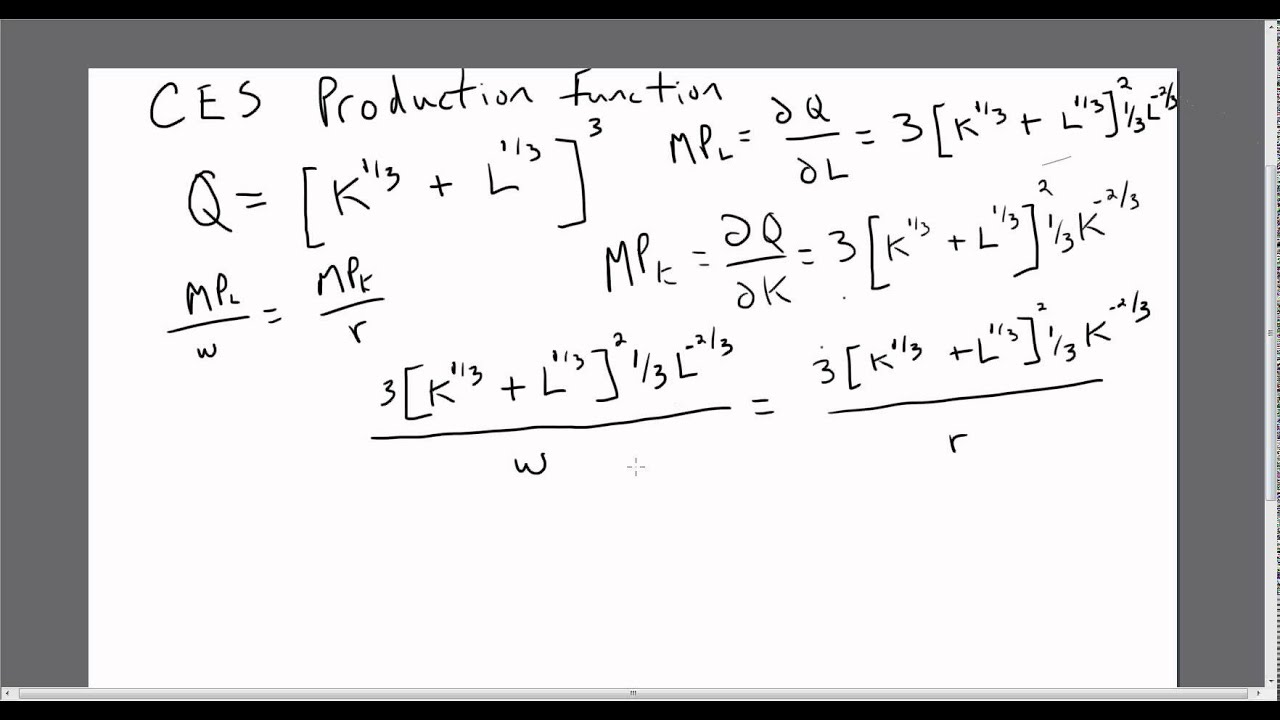 Elasticity Of Substitution Ces Production Function Youtube