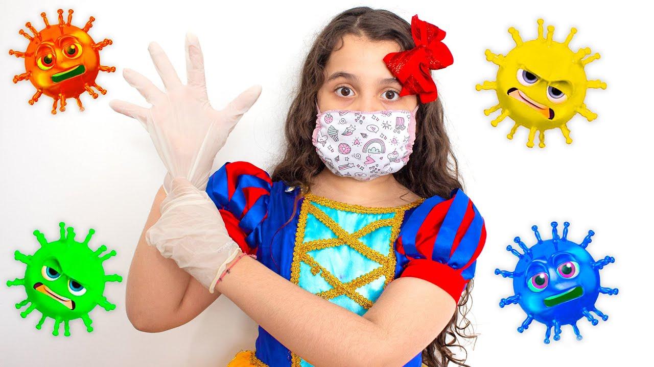 SARAH BRINCA de BRANCA DE NEVE  em HISTÓRIA INFANTIL sobre vírus malvado