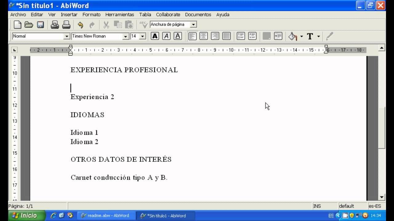 Currículum Empleo + Programa texto Gratis - YouTube