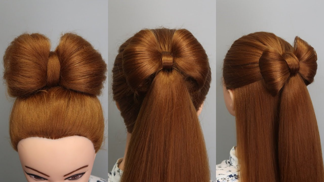 3 EASY HAIRSTYLES with BRAIDES BOW for GIRLS 🎀