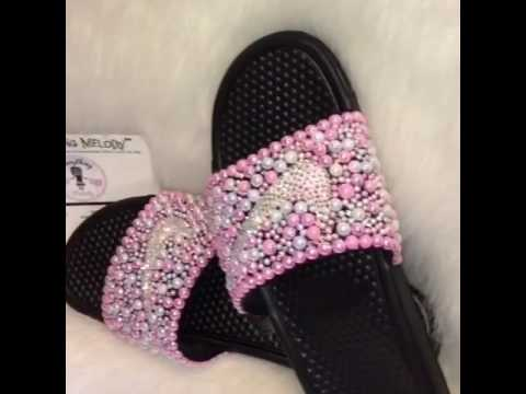 competitive price 670df f4347 Pearl Embellished Nike Slides