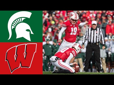 Michigan State Vs #8 Wisconsin Highlights | NCAAF Week 7 | College Football Highlights
