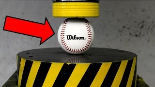 EXPERIMENT HYDRAULIC PRESS 100 TON vs BASEBALL