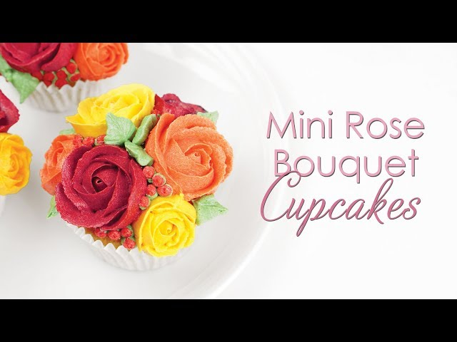 Mini Buttercream Rose Cupcake - Piping Techniques Tutorial