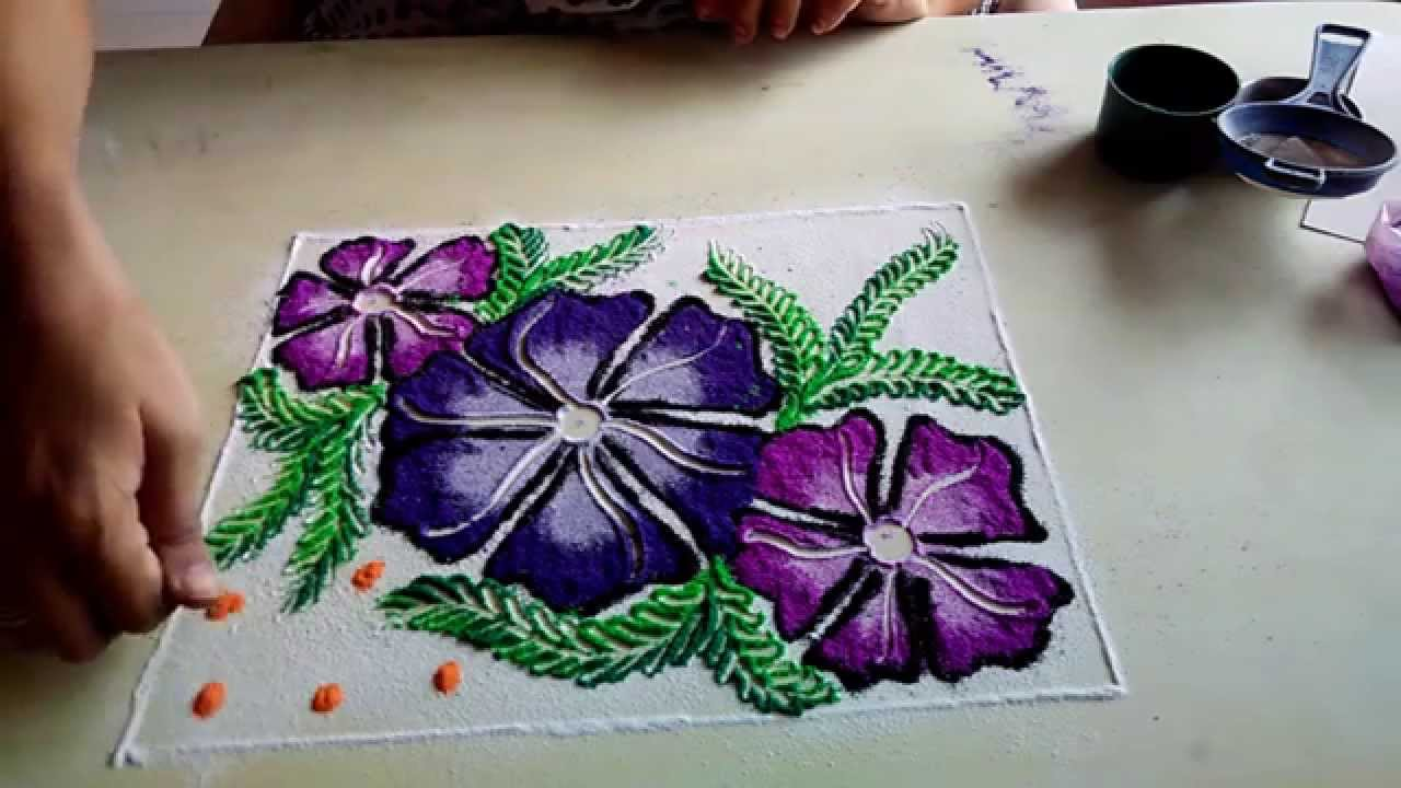 beautiful rangoli designs - YouTube for rangoli designs with flowers and having traditional themes  111bof