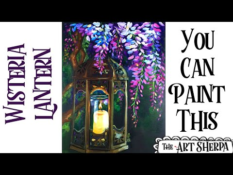 Wisteria And Glowing Lamp Easy Acrylic Painting Tutorial Step By Step Live Streaming   TheArtSherpa
