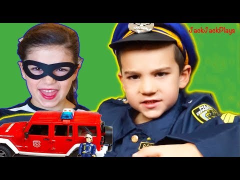 Fire Trucks for Kids - Costume Pretend Play - Playing Police & Firefighter