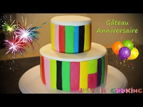 recette-de-gâteau-d'anniversaire-coloré---pièce-montée