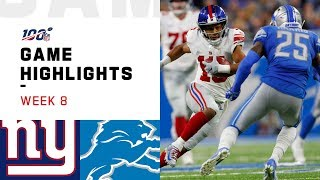 Giants vs. Lions Week 8 Highlights | NFL 2019