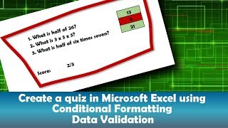 Create a quiz in Excel using conditional formatting and data validation
