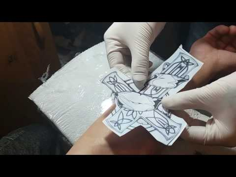 Cross tattoo, time lapse