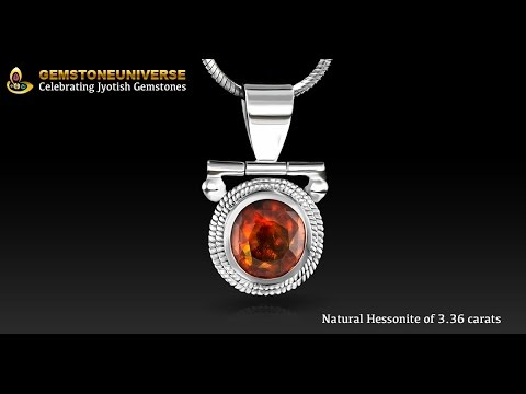Certified Ceylon Hessonite in Silver