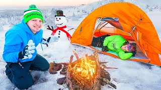 24 HOUR BLIZZARD SNOW CAMPING CHALLENGE!