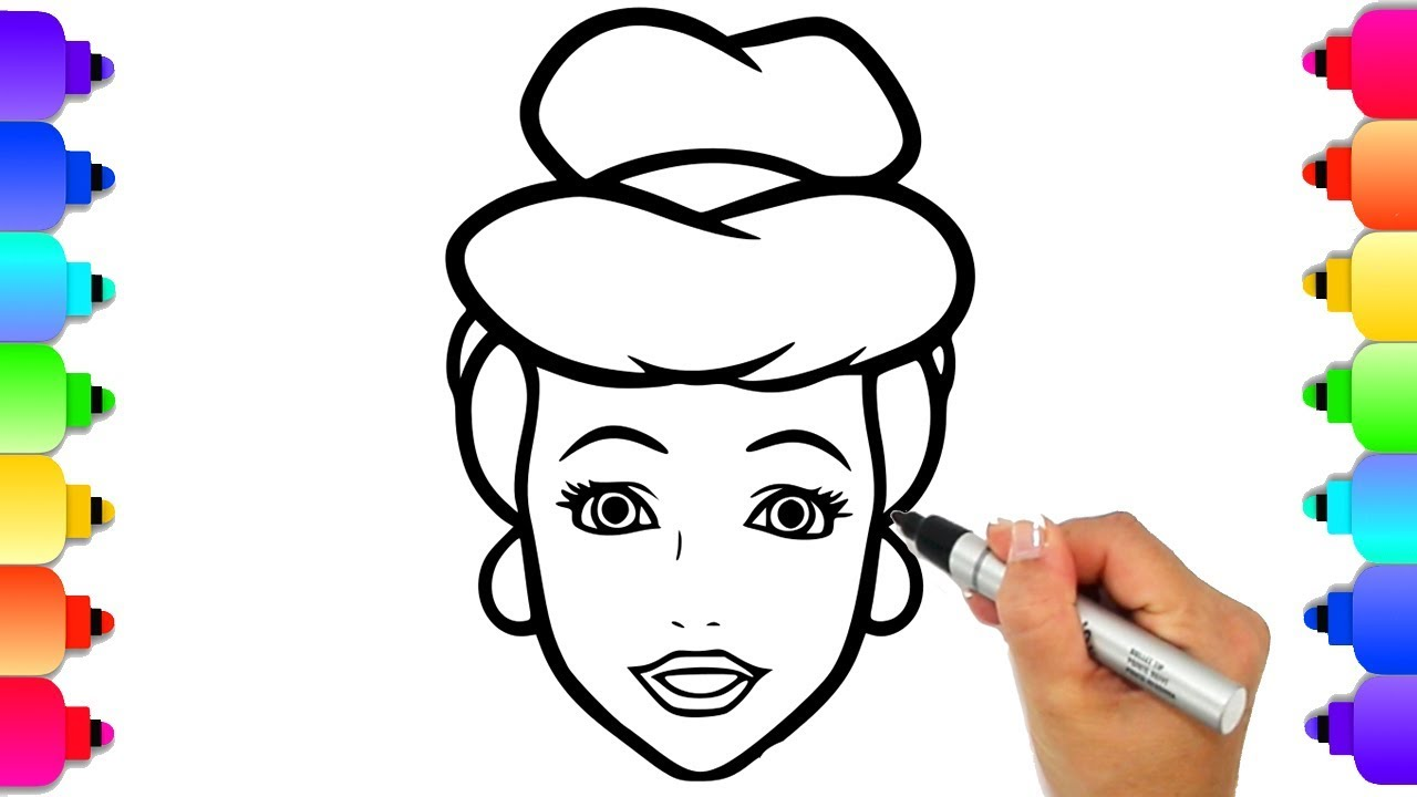 How To Draw Cinderella Easy For Kids Step By Step By Hand Glitter Disney Princess Coloring Page