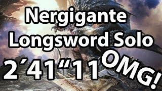 """Monster Hunter World - Nergigante 2'41""""11 Solo Longsword Speedrun"""