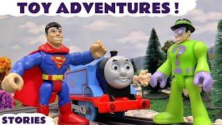 superheroes and thomas friends spiderman batman superman play doh logos toys vs joker riddler