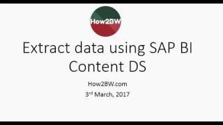 استخراج البيانات في SAP BW من ECC باستخدام معيار DS