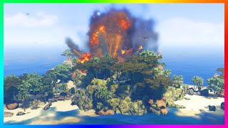 GTA 5 SECRET ERUPTING VOLCANO ISLANDS, TREASURE QUEST ISLANDS & PARADISE ISLAND EXPLORATION! (MODS)