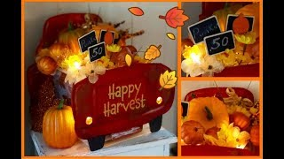 ~DOLLAR TREE FALL DIY~ LIGHT UP RED TRUCK CENTERPIECE ~