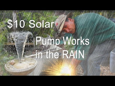 AMAZING Solar Power Cloudy Day Run Water Fountain in Garden for Birds