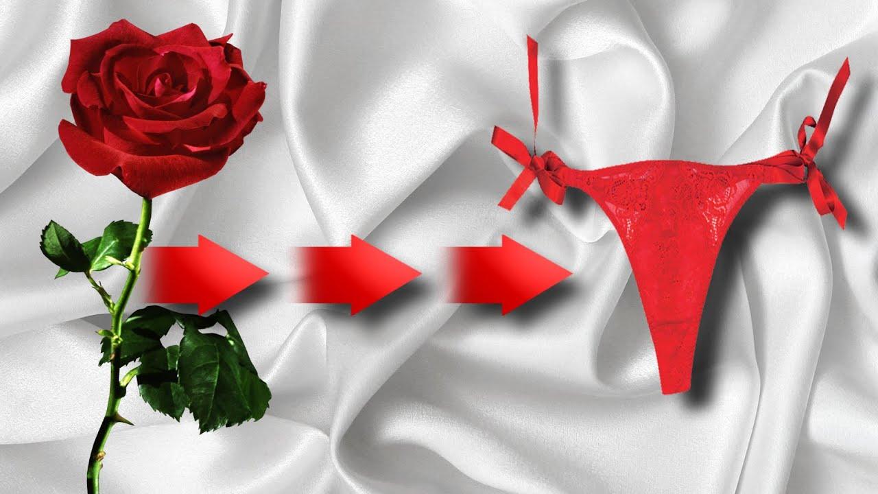 Роза превращается в трусики (необычный подарок девушке)