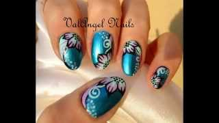 "Nail Art Tutorial ""Electric Flowers"""