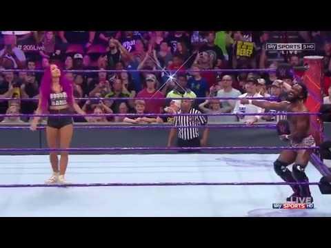 Sasha Banks dancing to Rich Swann theme song