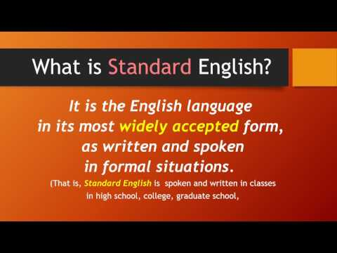Standard English and Vernacular Words