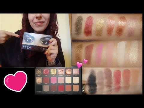 ASMR ITA: REVIEW PALETTE HUDA BEAUTY: Swatches-Whispering-Tapping