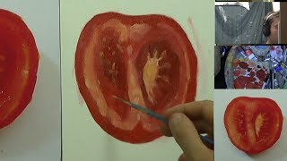 Painting a slice of tomato - Oily