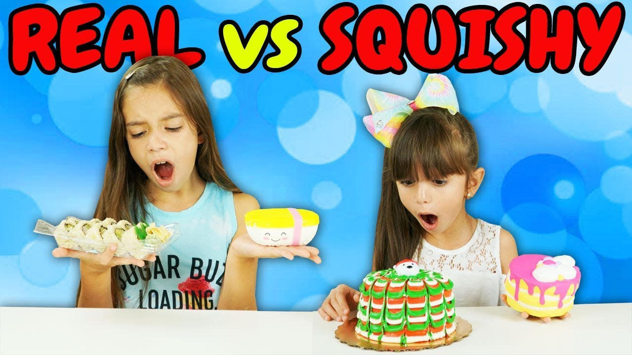 Squishy Toys Vs Real Food : SQUISHY FOOD VS. REAL FOOD CHALLENGE!!! - YouTube