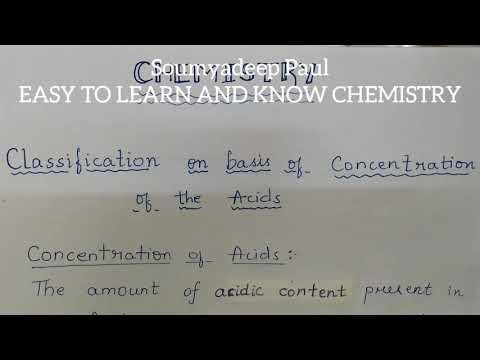 Concentrated and Dilute Acid || Classification on basis of Concentration of Acid || By Soumyadeep