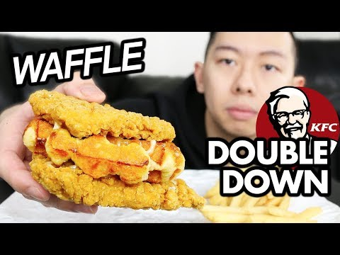 KFC Waffle DOUBLE DOWN MUKBANG + REVIEW | Fried Chicken Mukbang | KFC Eating Show
