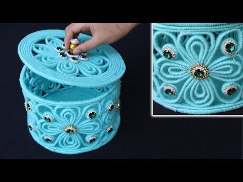 How to make a storage box - Jewellery storage box with woolen and newspaper